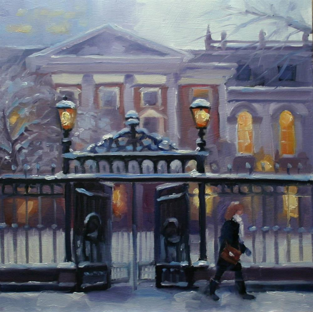 """Gates At Osgood Hall, Queen Street"" original fine art by Catherine Jeffrey"