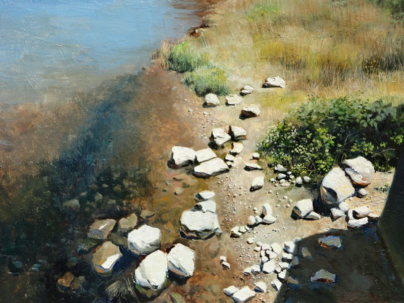 """Rocky Shore II"" original fine art by Kirk Miller"