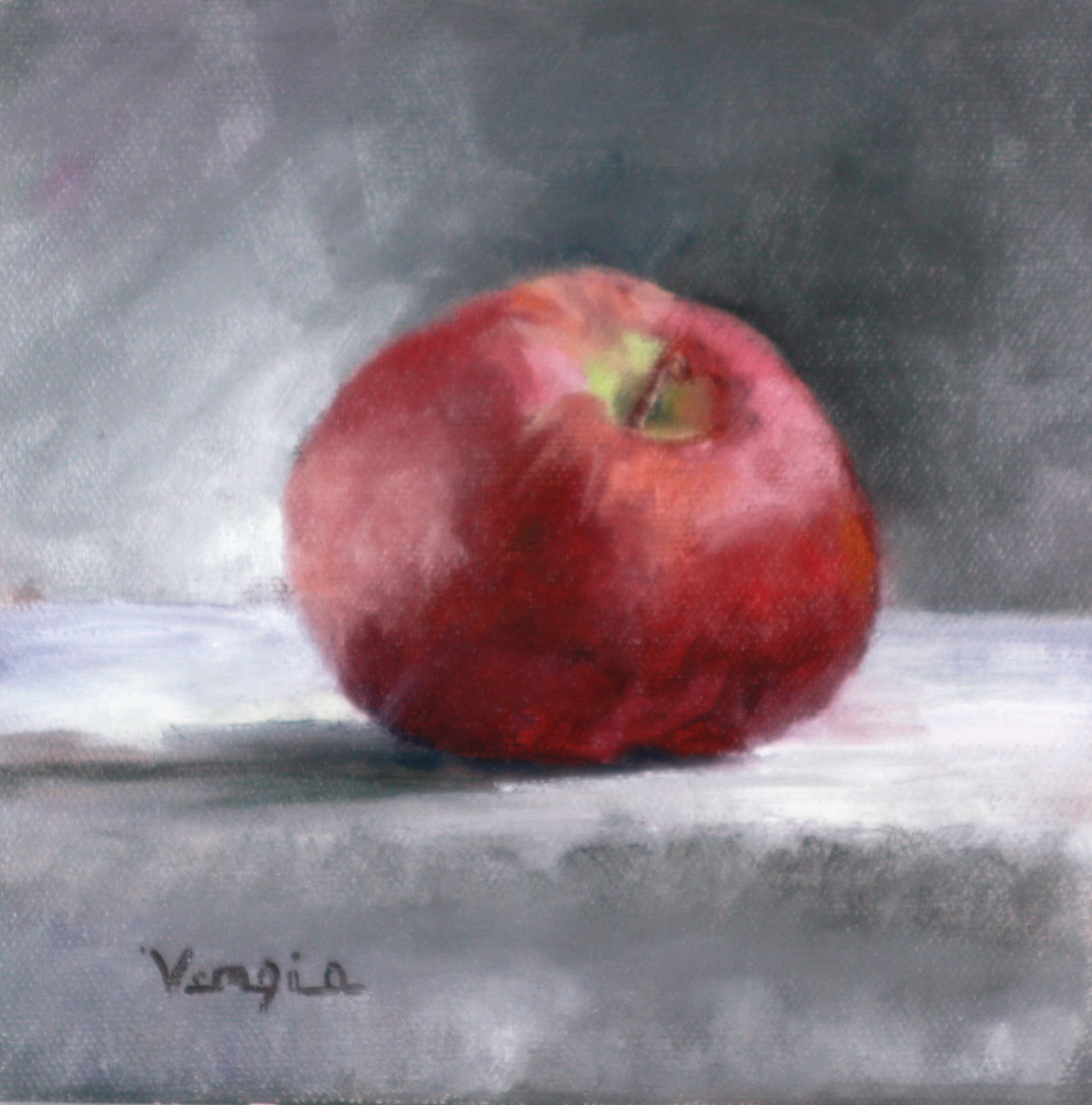 """still life oil painting with apple"" original fine art by Carrie Venezia"