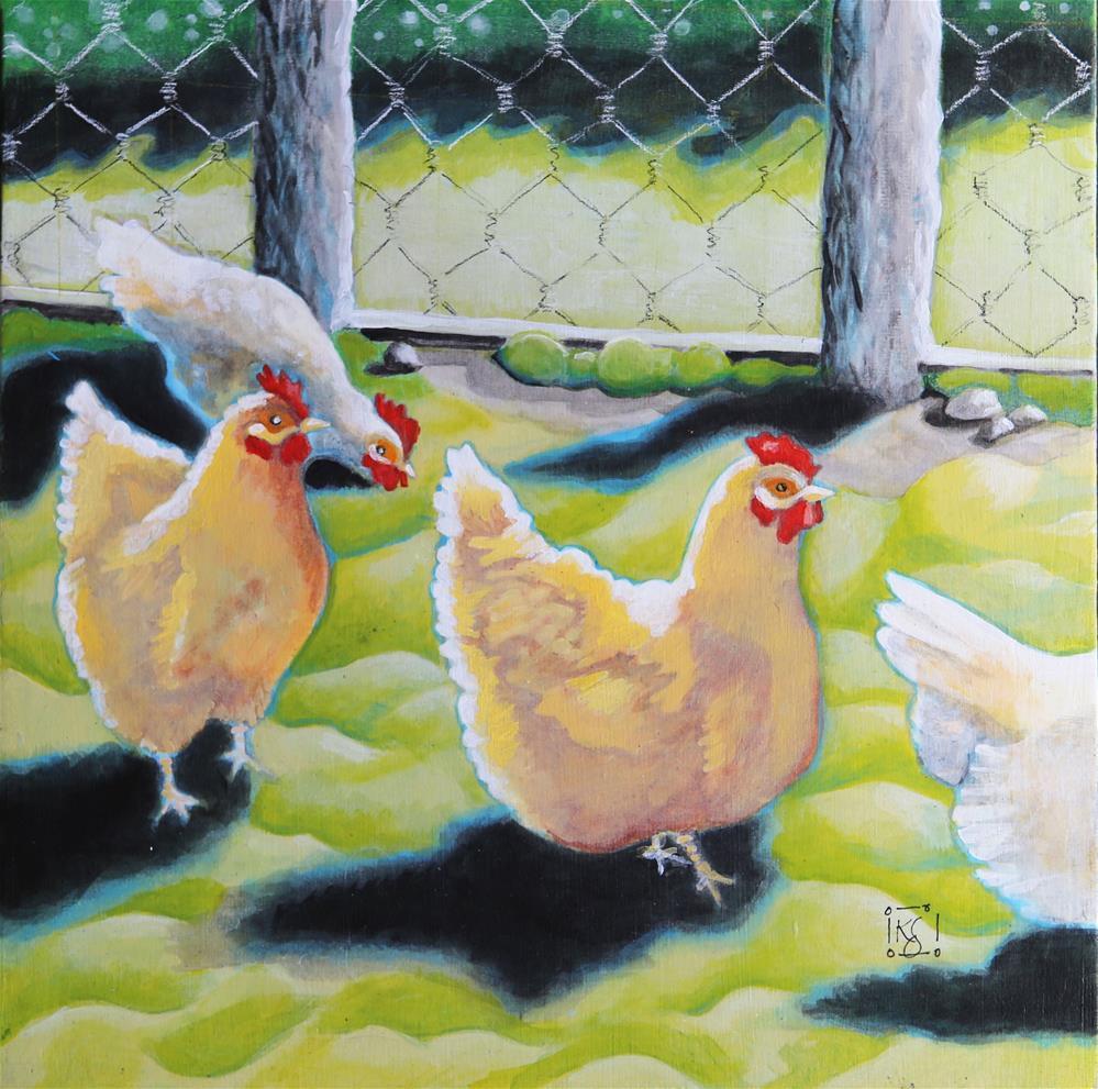 """In the Yard"" original fine art by Kathleen Straube"