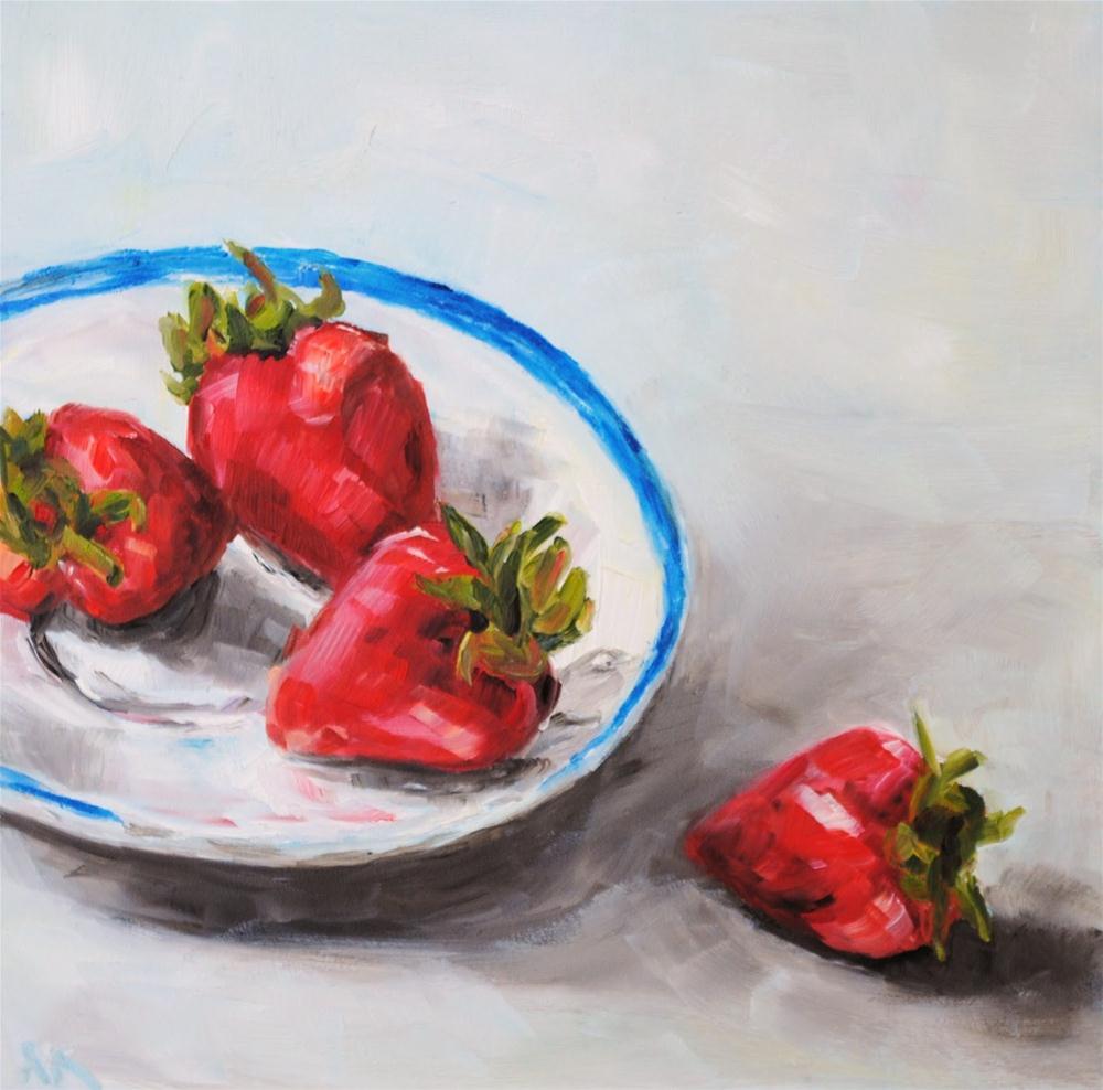"""Four Strawberries"" original fine art by Alison Kolkebeck"