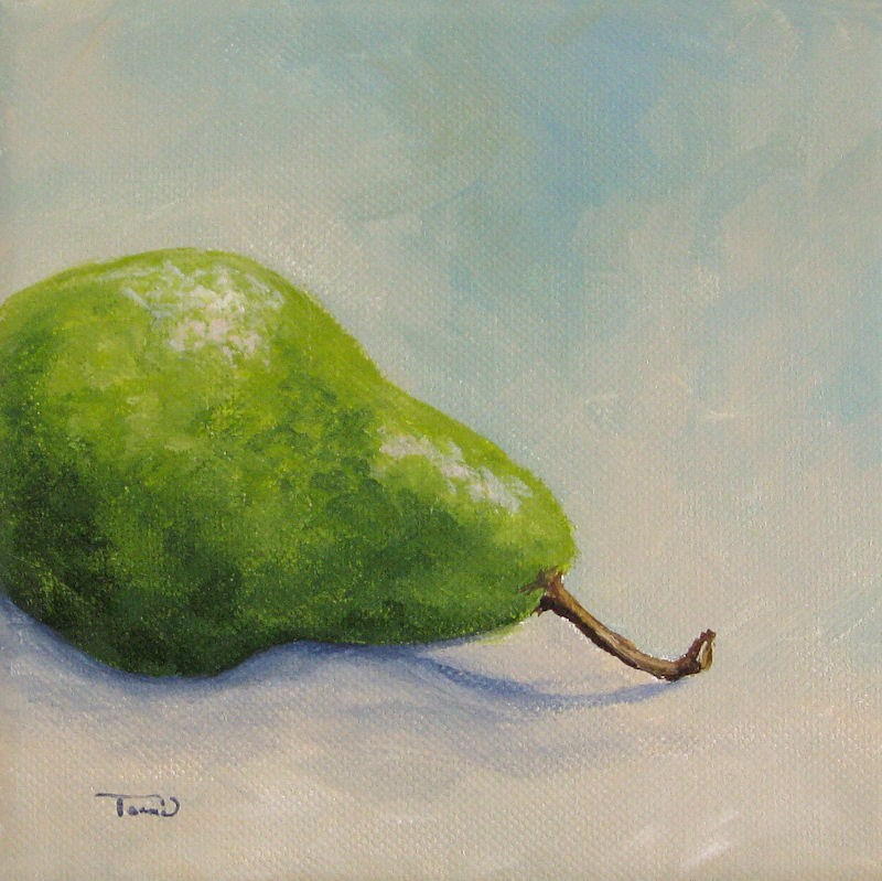 """Lazy Green Pear"" original fine art by Torrie Smiley"