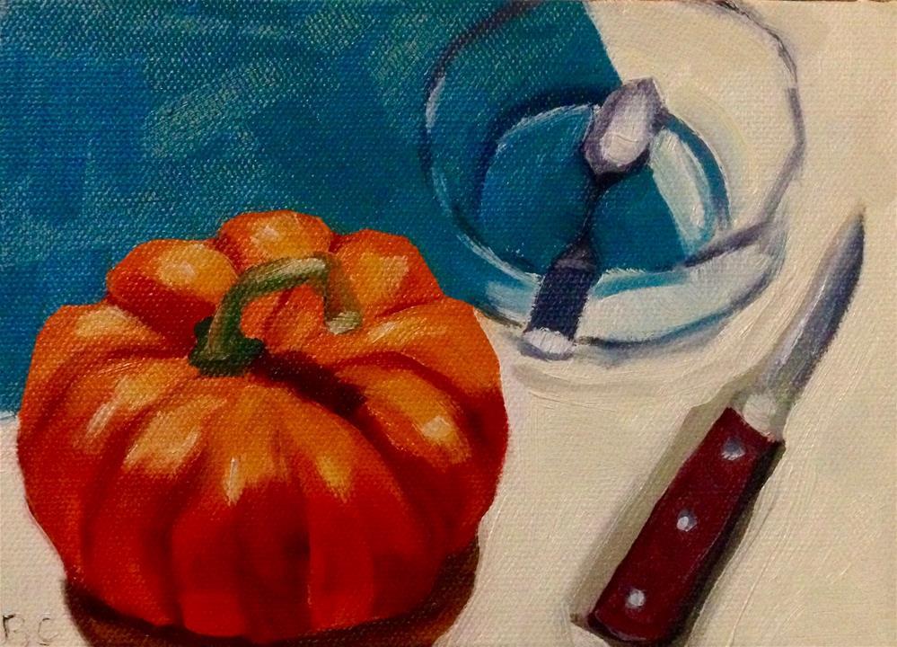 """carving time"" original fine art by Bobbie Cook"