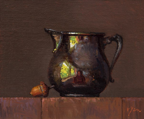 """Still Life with Acorn and Silver Pitcher (+ A Meditation on 7 Years)"" original fine art by Abbey Ryan"