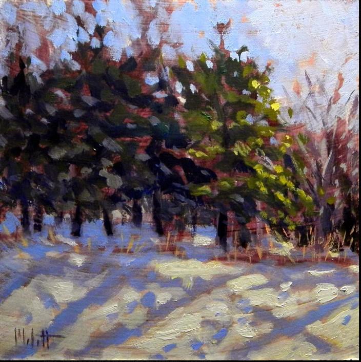 """Winter Sparkle Contemporary Impressionism Original Oil Painting"" original fine art by Heidi Malott"