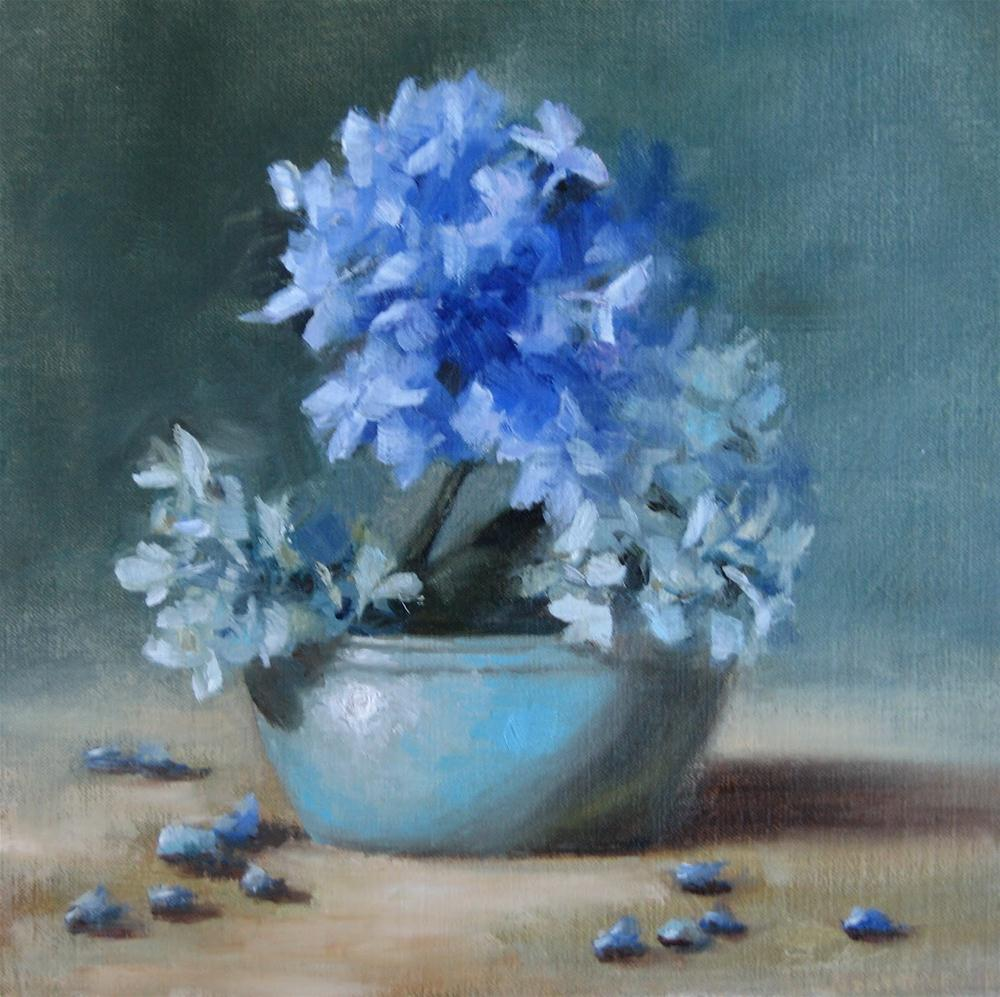 """Hydrangea Blues"" original fine art by Pat Fiorello"