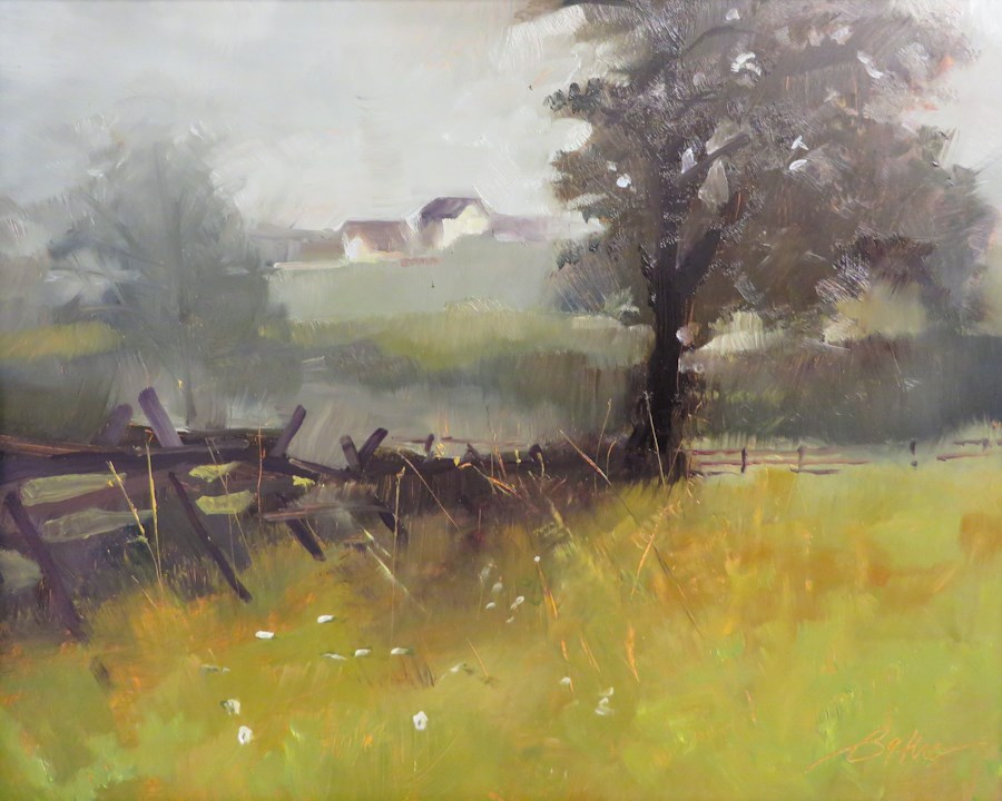 """Misty Morning View in Gettysburg"" original fine art by Beth Bathe"