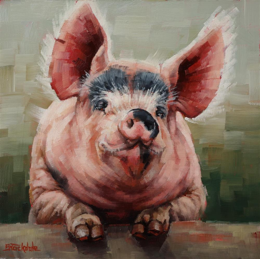 """Friendly Pig"" original fine art by Margaret Stockdale"