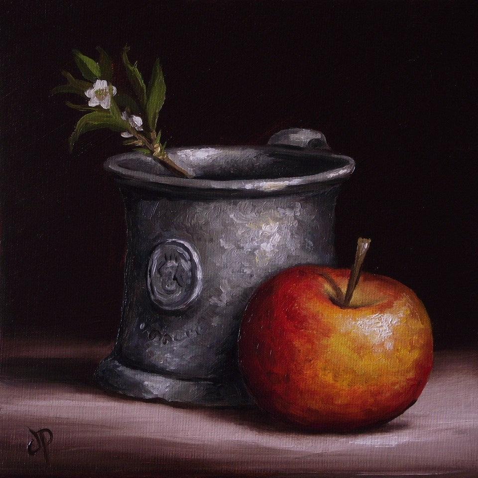 """Apple with Pewter and Blackthorn"" original fine art by Jane Palmer"