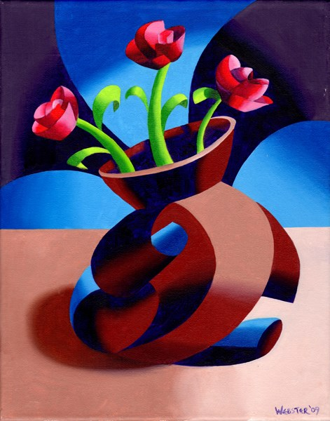 """Mark Webster - Futurist Dancing Abstract Flower Pot Still Life Oil Painting - Step One"" original fine art by Mark Webster"
