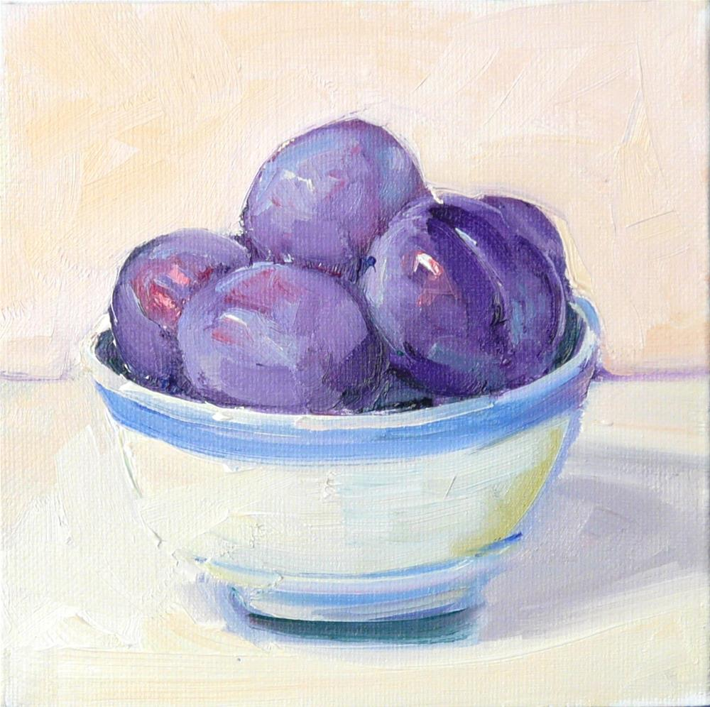 """Plums in Bowl,still life,oil on canvas,6x6,price$150"" original fine art by Joy Olney"