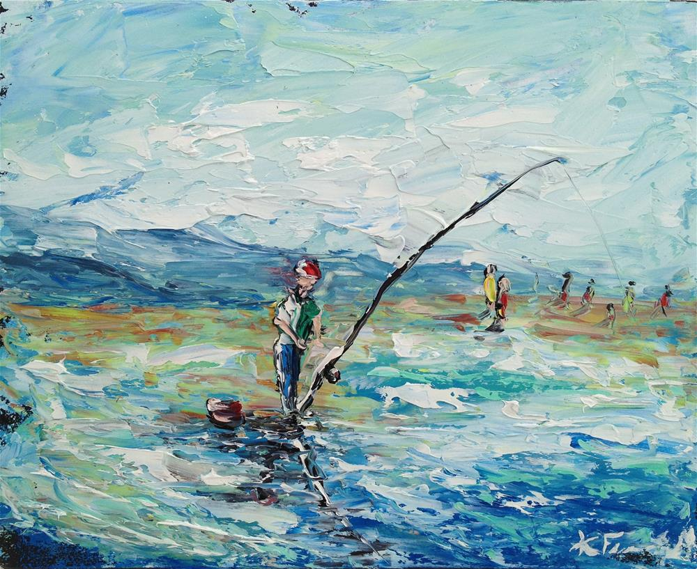 """Surf Fishin IV"" original fine art by Ken Fraser"