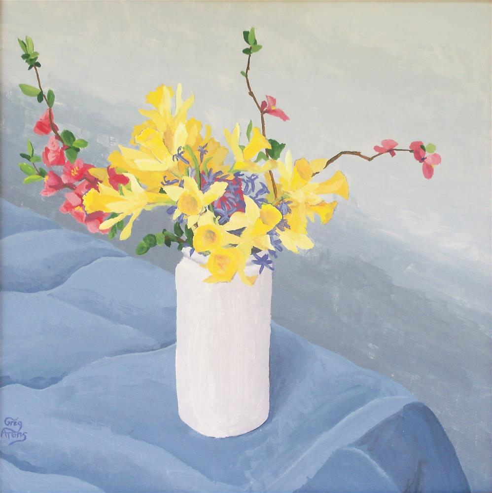 """Daffodils, Hyacinths & Quince"" original fine art by Greg Arens"