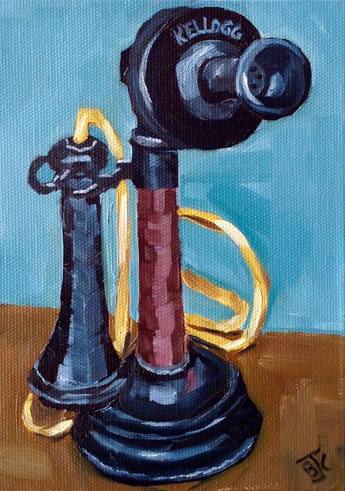 """""""Antique Phone"""" original fine art by Bobbie Cook"""