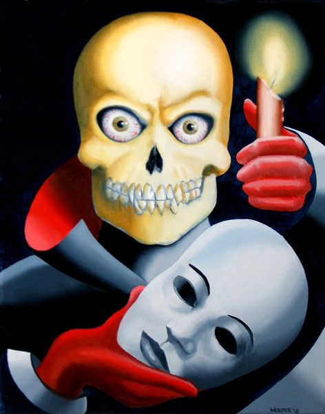 """Mark Webster - Unmasked - Skull Mask Oil Painting"" original fine art by Mark Webster"