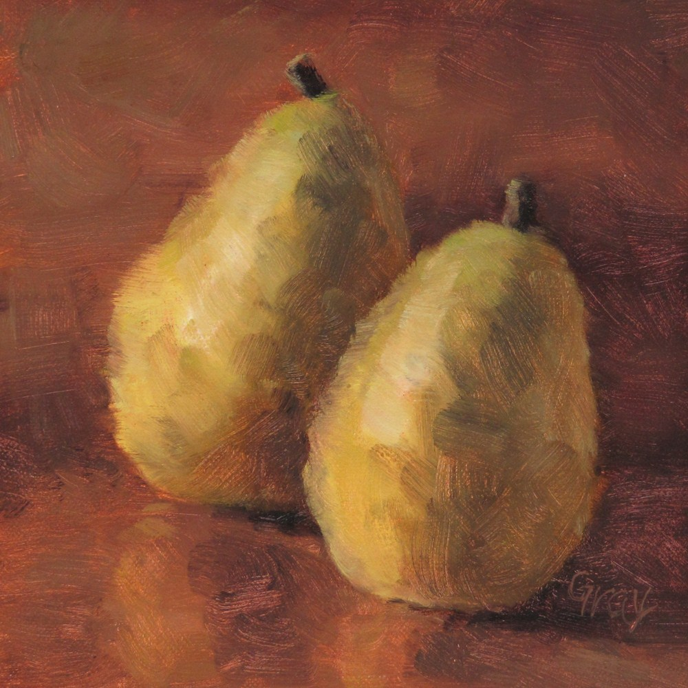 """Two Pears in Brown"" original fine art by Naomi Gray"