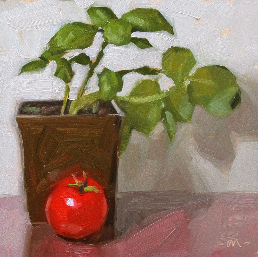 """Basil and Tomato"" original fine art by Carol Marine"