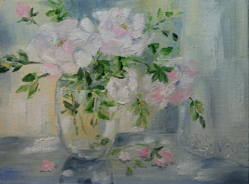 """Rose Quartz Roses"" original fine art by Jean Nelson"