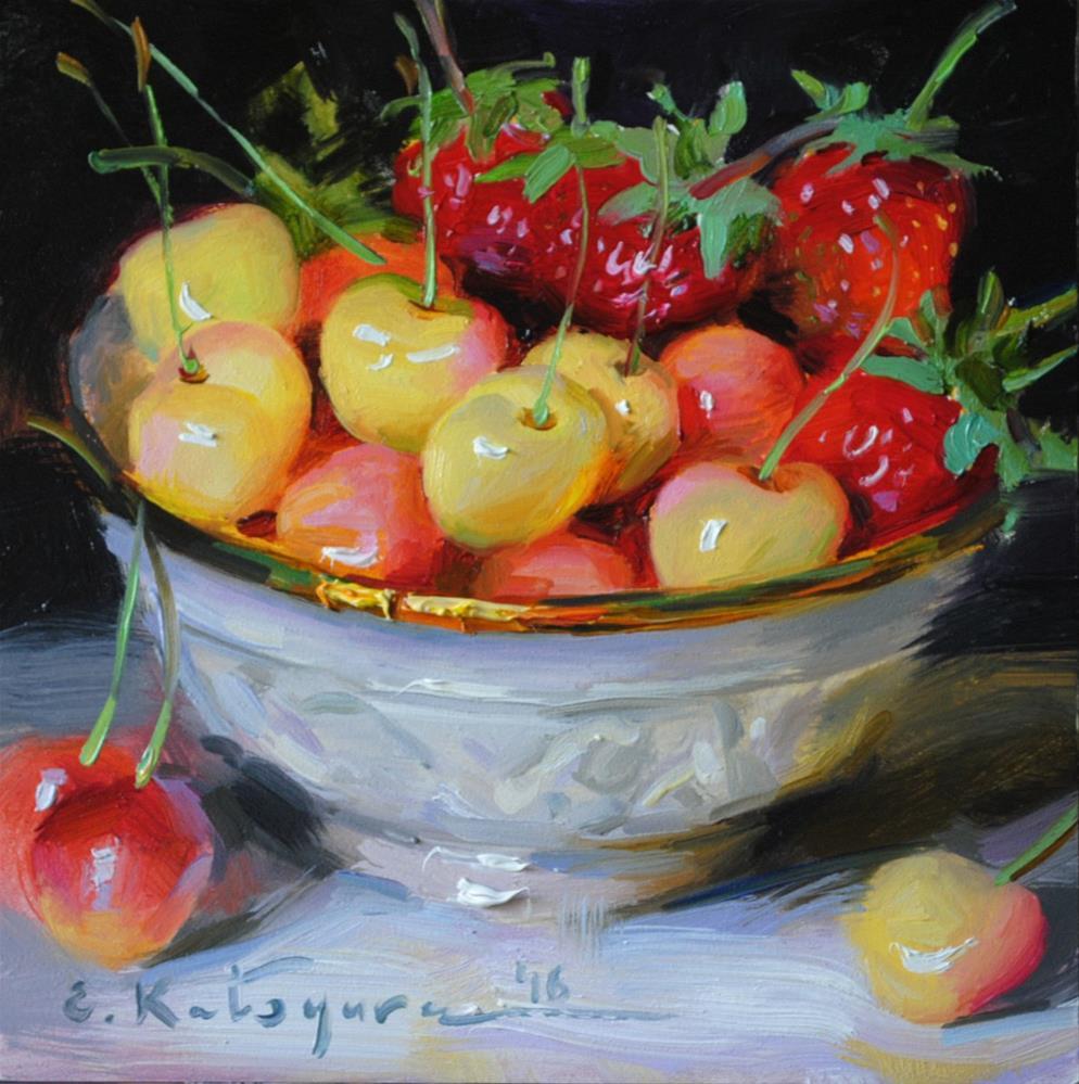 """""""Cherries and Strawberries"""" original fine art by Elena Katsyura"""