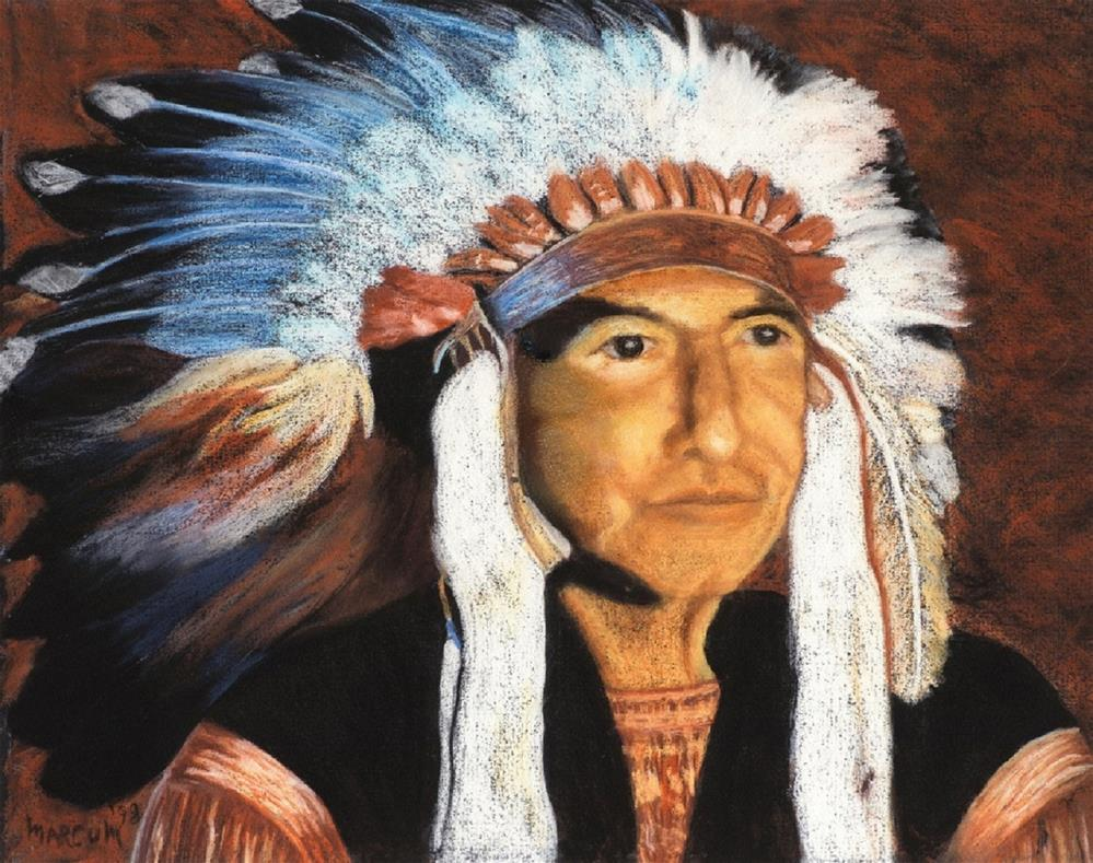 """Indian in Headdress"" original fine art by John Marcum"