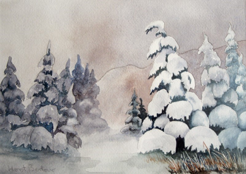 """Snow Spruce"" original fine art by Horst Berlow"