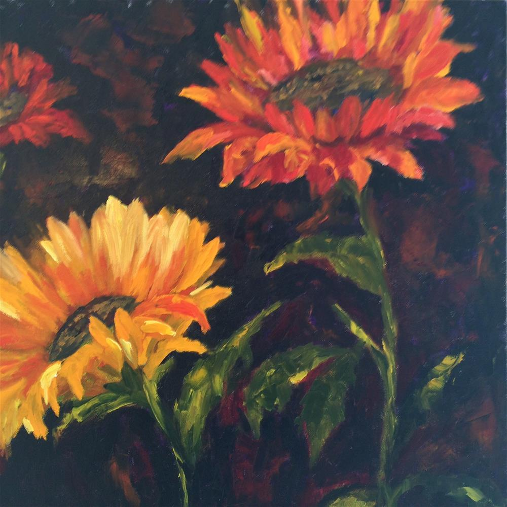 """Sunflower family"" original fine art by Ramya Sarveshwar"
