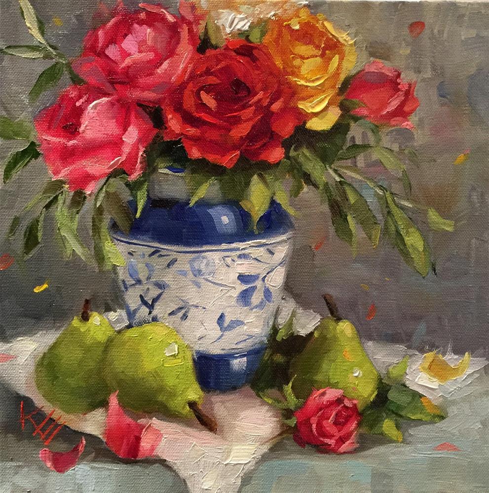 """Roses & Pears still life"" original fine art by Krista Eaton"