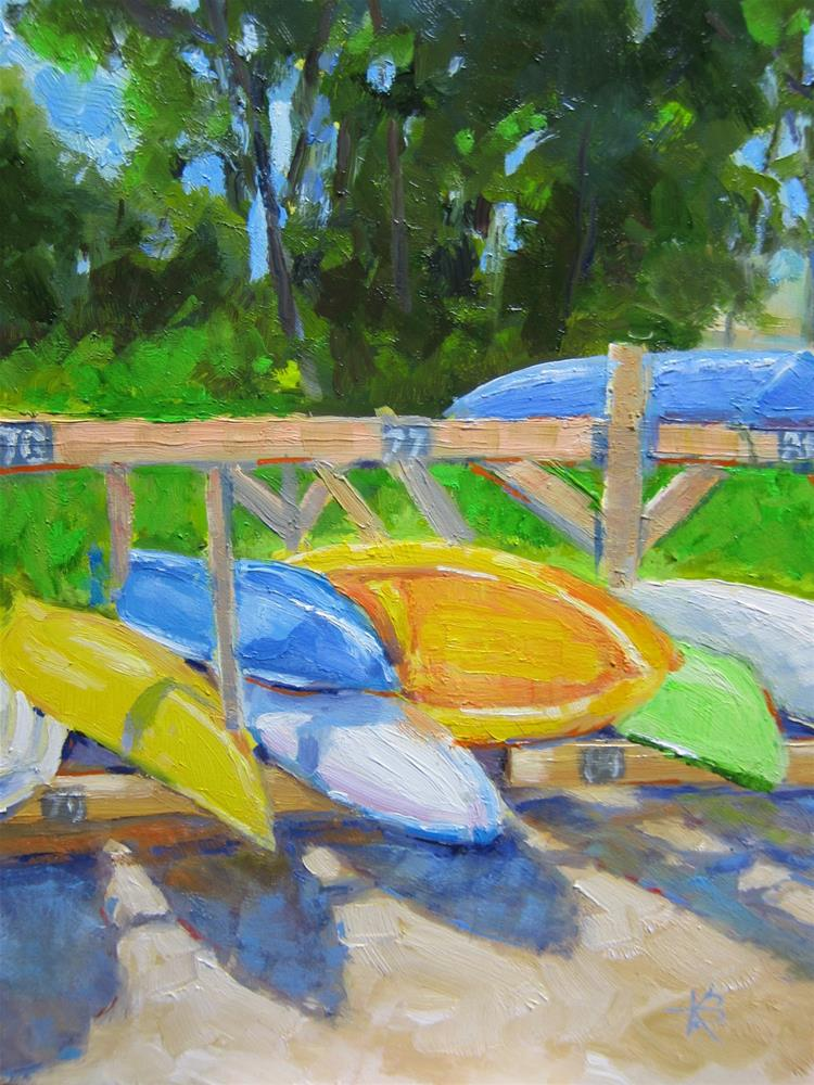 """Setauket Harbor - Boat Party"" original fine art by Kathy Bodamer"