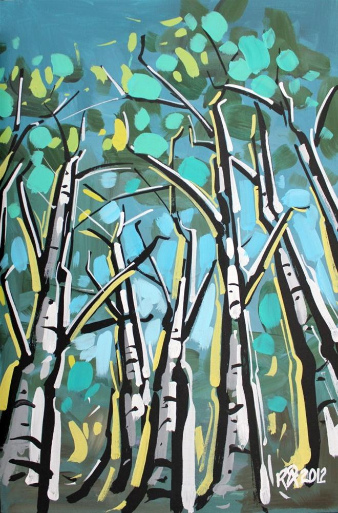 """Birch tree abstraction 1"" original fine art by Roger Akesson"