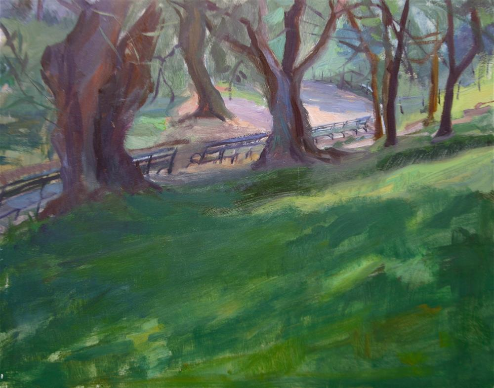 """Central Park Benches, New York"" original fine art by Ann Buenaventura"