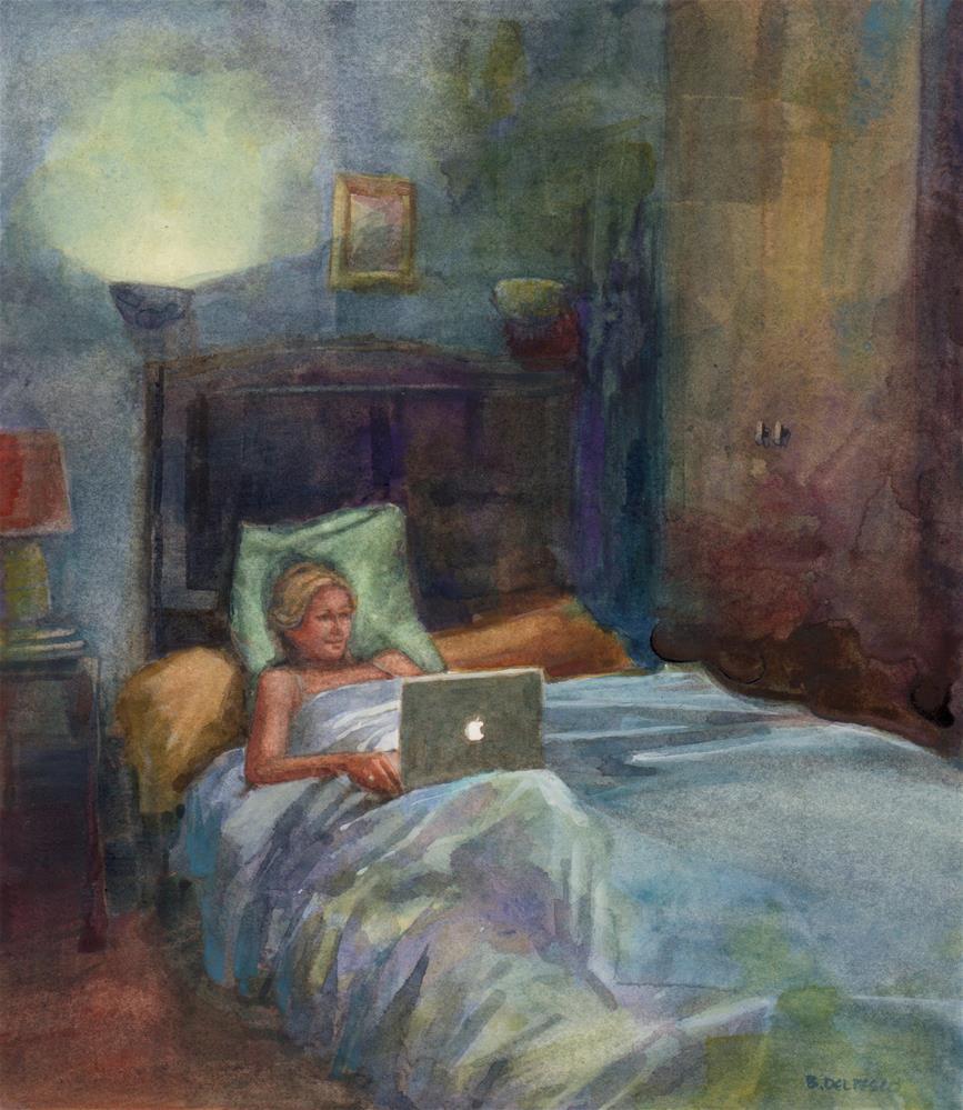 """Watercolor: Laptop Nightlight (& encouragement to finish your art)"" original fine art by Belinda Del Pesco"