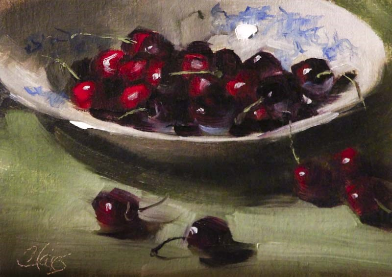 """Bowl of Cherries"" original fine art by Pamela Blaies"