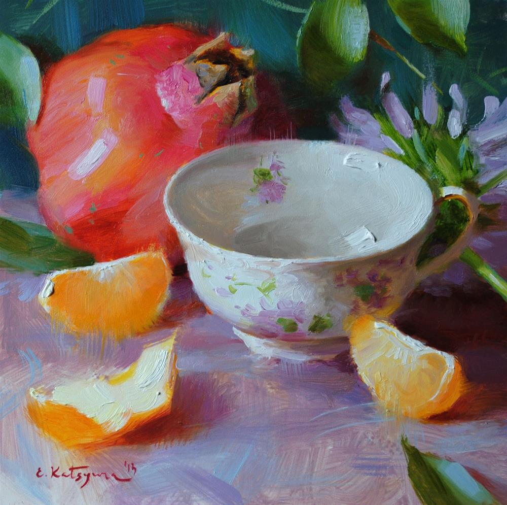 """September Teacup"" original fine art by Elena Katsyura"
