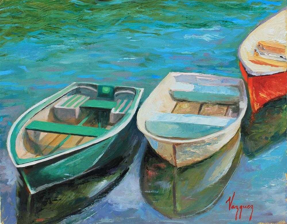 """Rowing boats"" original fine art by Marco Vazquez"