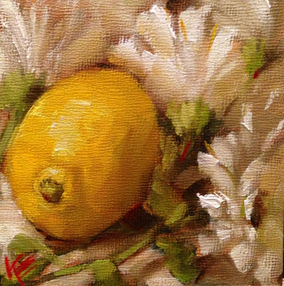 """Daisies & lemon"" original fine art by Krista Eaton"