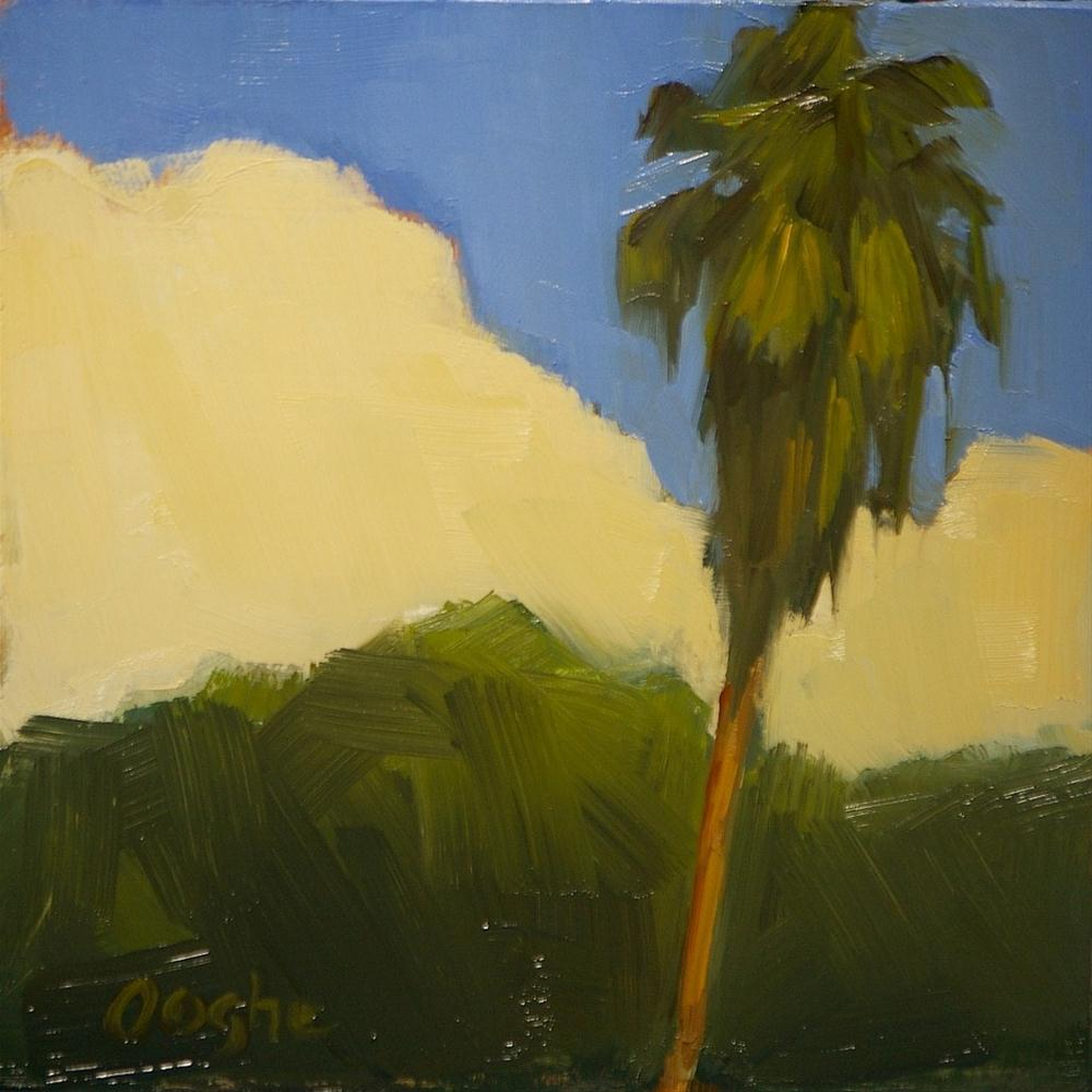 """Palm Tree with Cloud"" original fine art by Angela Ooghe"