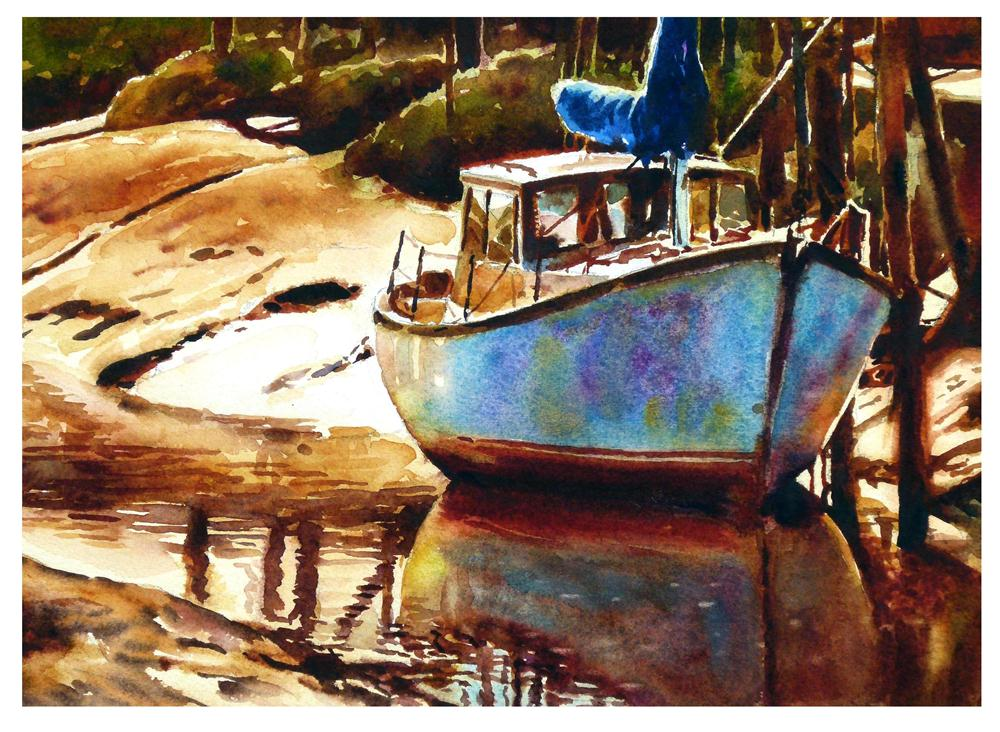 """Skippool boat at low tide"" original fine art by Graham Berry"