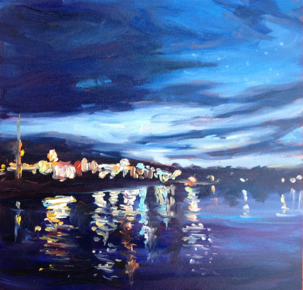 """Night Skies over Kennebunkport"" original fine art by Claudia L Brookes"