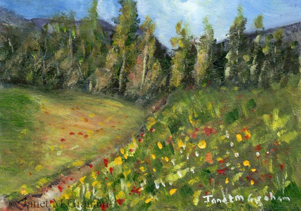 """Spring Track ACEO"" original fine art by Janet Graham"