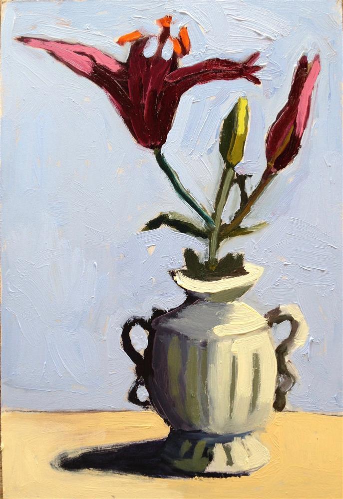"""""""Big Lily, Little Vase"""" original fine art by Pamela Hoffmeister"""