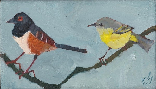"""Towhee and Yellowthroat Northwest Birds On A Branch Painted On Wooden Block"" original fine art by Elizabeth See"