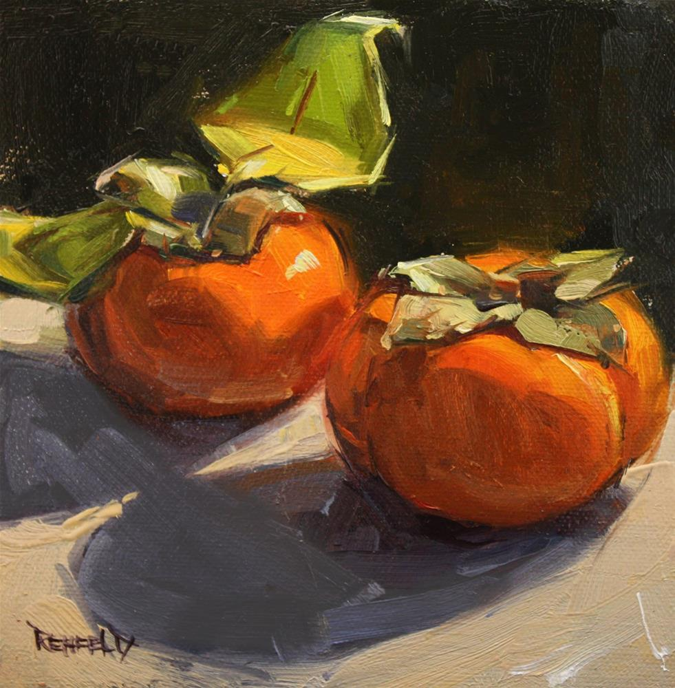 """Traditional Persimmons"" original fine art by Cathleen Rehfeld"