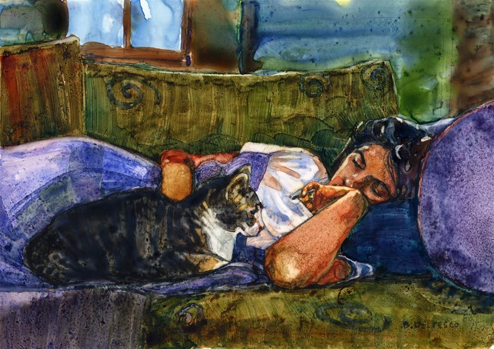 """Watercolor on Yupo: Blanket Warmer"" original fine art by Belinda Del Pesco"