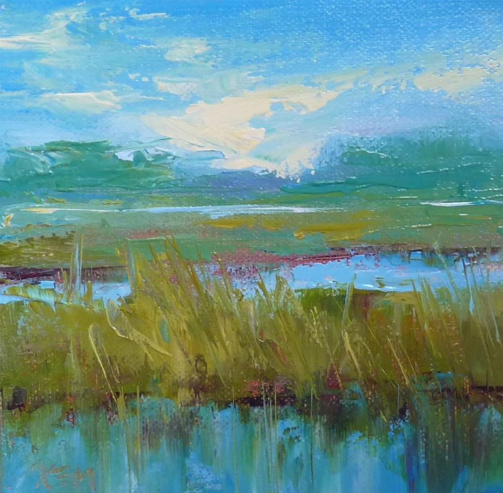 """Trying Golden Open Acrylics...Lowcountry Marsh"" original fine art by Karen Margulis"