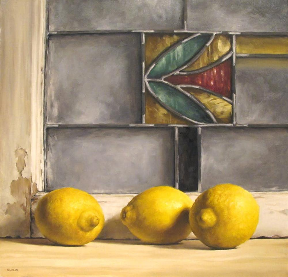 """Lemons with Antique Stained Glass"" original fine art by Michael Naples"