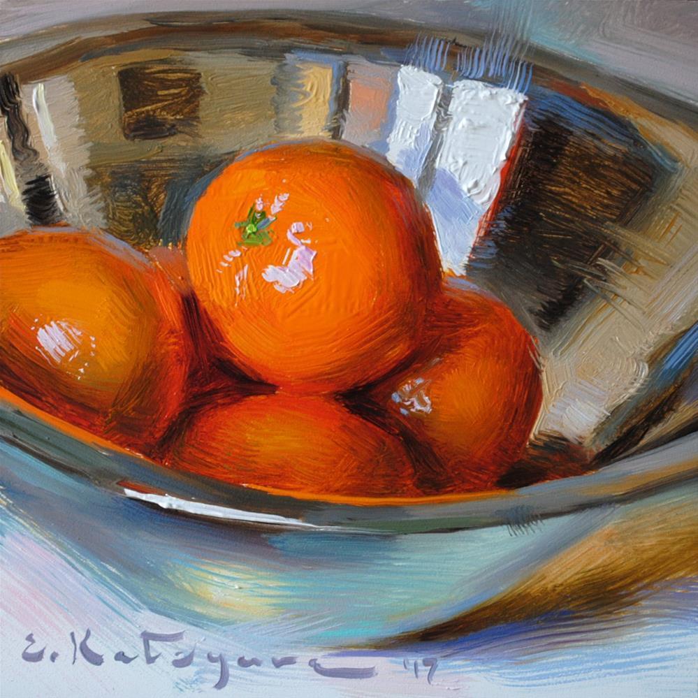 """Clementines in Silver"" original fine art by Elena Katsyura"