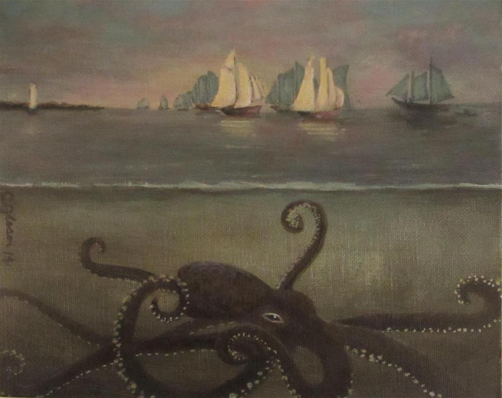 """""""Kraken After Homer"""" original fine art by christina glaser"""