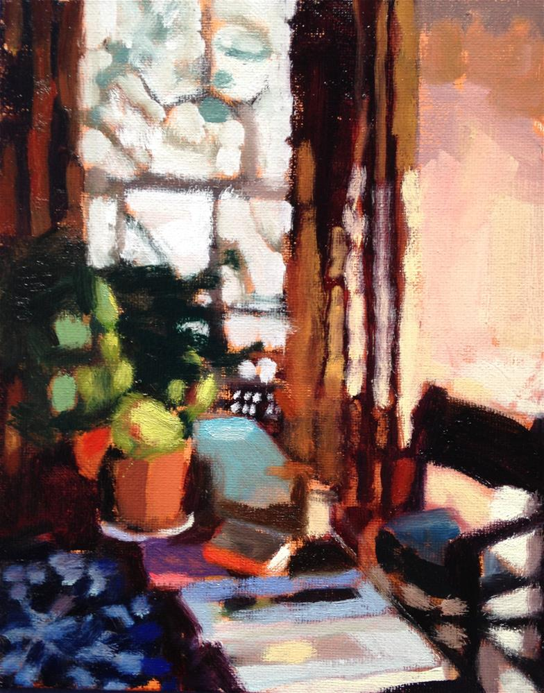"""Morning table With Books and Coffee"" original fine art by Pamela Hoffmeister"