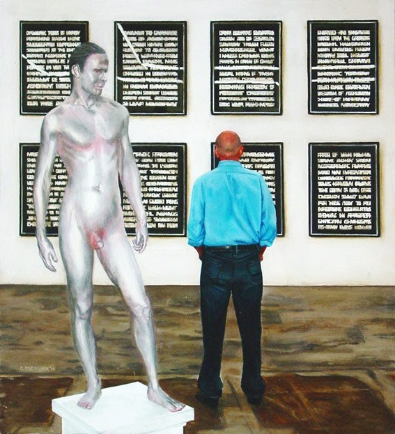 """Human Statue - Man Enjoying Works Of Art By Steven Shearer And Frank Benson"" original fine art by Gerard Boersma"