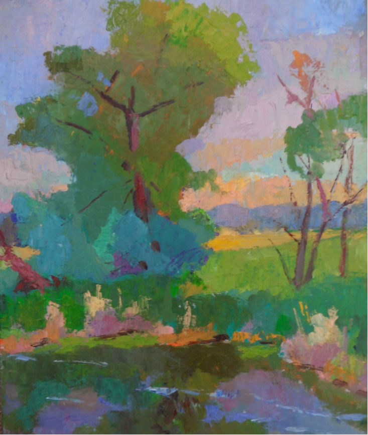"""Late Evening Pond"" original fine art by Michael McConnell"